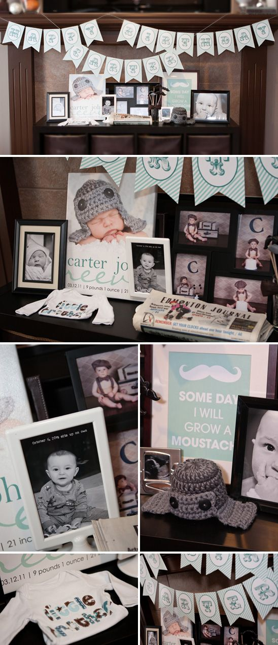 Little Man Themed Birthday Party//Love the grey, but it needs something bolder than the light blue.
