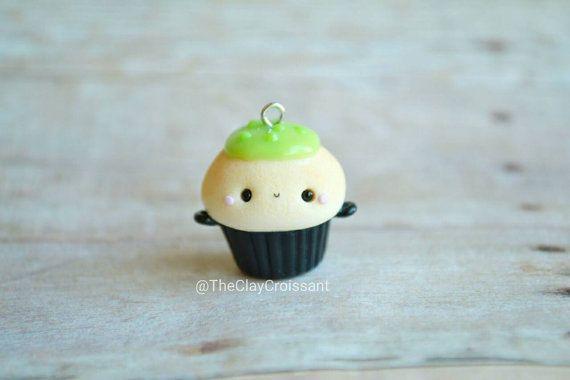 Kawaii Cauldron Cupcake - Charm, Polymer Clay Charm, Pendant, Jewelry, Food Jewelry, Food, Kawaii Food, Halloween, Seasonal, Spooky, Cute