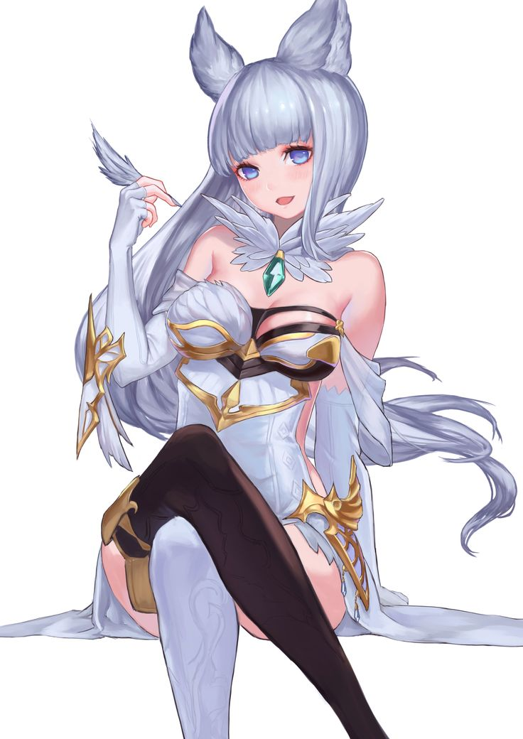 Anime picture 				2480x3507 with  		granblue fantasy 		korwa (granblue fantasy) 		erune race (granblue fantasy) 		shou xun bu liang 		long hair 		single 		tall image 		blush 		looking at viewer 		highres 		open mouth 		blue eyes 		light erotic 		breasts 		smile 		simple background 		fringe 		white 		bare shoulders 		sitting