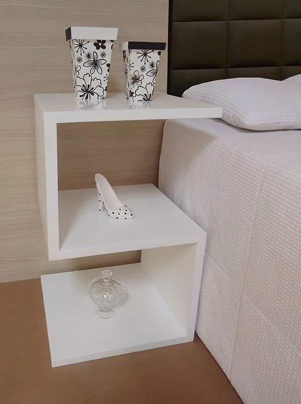 criado mudo mesa lateral cabeceira madeira mdf branco