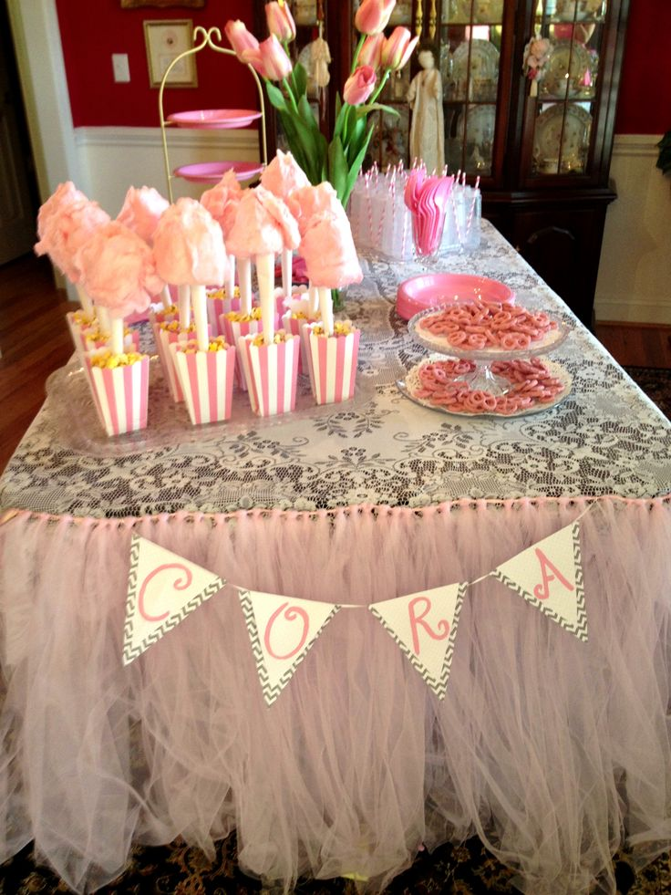 Table set up for baby shower girl pink baby shower for Baby clothesline decoration baby shower