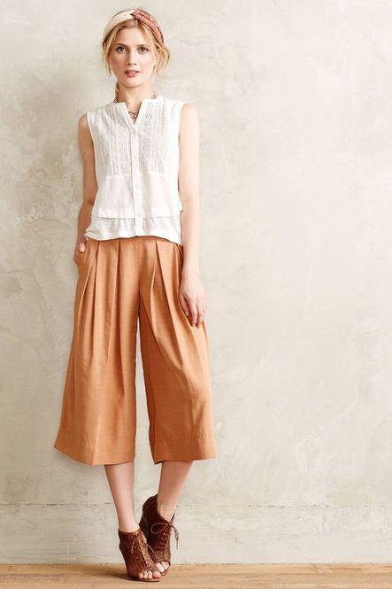 万能なガウチョと白シャツ♡上品なタイプのミセス系コーデ。スタイル・ファッションの参考に♪