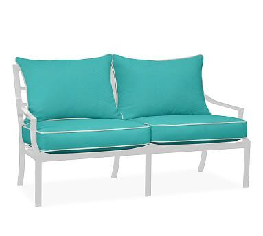 sofa replacement cushion set sunbrellar contrast piped aruba - Sunbrella Replacement Cushions