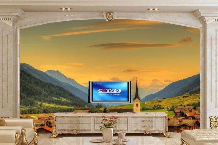 Custom 3d mural,papel de pared Switzerland Houses Sky Mountains nature wallpaper,bar living room sofa TV wall bedroom wall paper