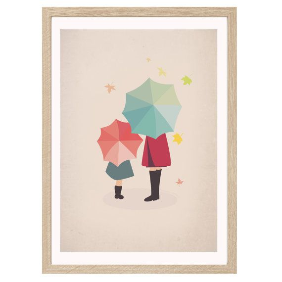 """Retro Inspired Illustration Poster Print """" Umbrellas"""" A4 or A3 on Etsy, $19.99 AUD"""