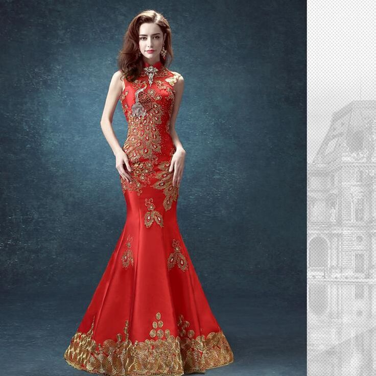 Traditionelles chinesisches Hochzeitskleid Meerjungfrau