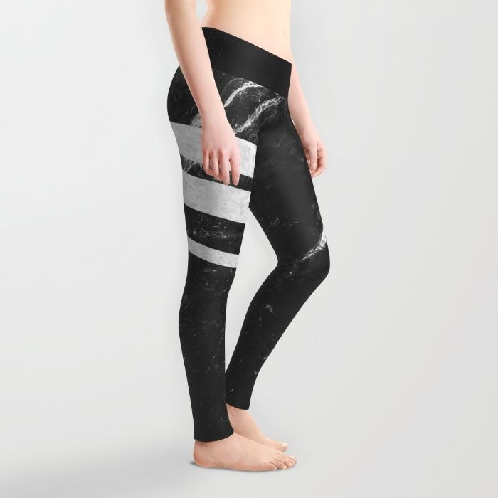 Digital design with stripes of white marble over a background of black marble with white pattern. #marble #stone #texture #pattern #black #white #stripe #striped #leggings #fashion #apparel
