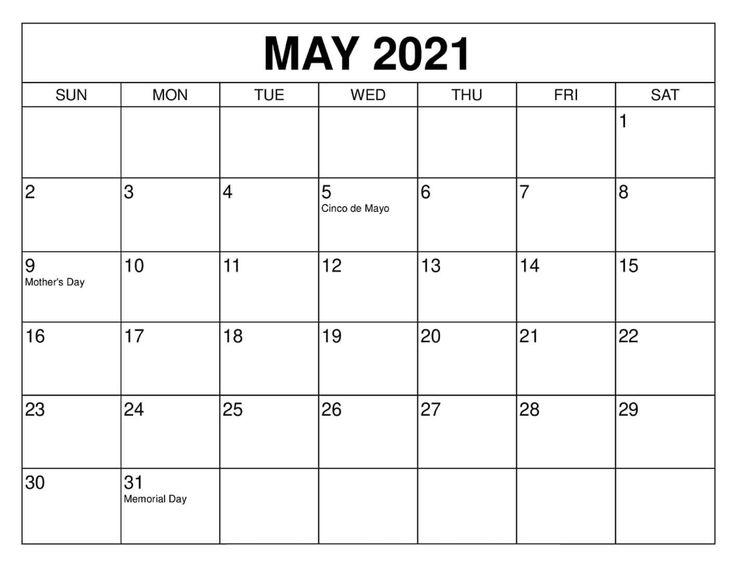 Blank May 2021 Calendar Create Daily Routine Timetable In 2021 Print Calendar 2021 Calendar Calendar Printables