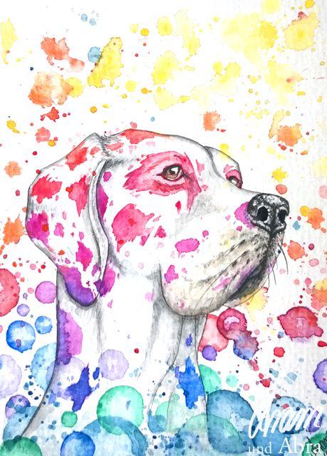 Galerie Aram und Abra | Dogge | Regenbogen | bunt | Farben | Aquarell | zeichnen | malen | Hund | Kunst | Illustration