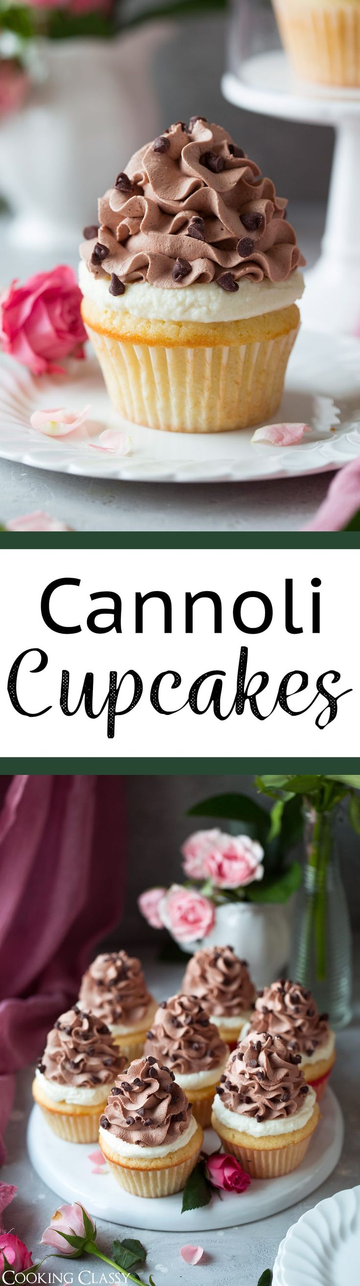 Cannoli Cupcakes - These are incredibly dreamy cupcakes! You get a soft and fluffy vanilla buttermilk cupcake topped with a rich cannoli filling and it's finished with a silky smooth chocolate whipped cream. Perfect for any celebration, or just to bake up for fun because life needs cupcakes sometimes. via @cookingclassy