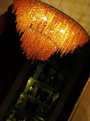 Orange chandelier at The Mansion on Forsyth Park, Savannah
