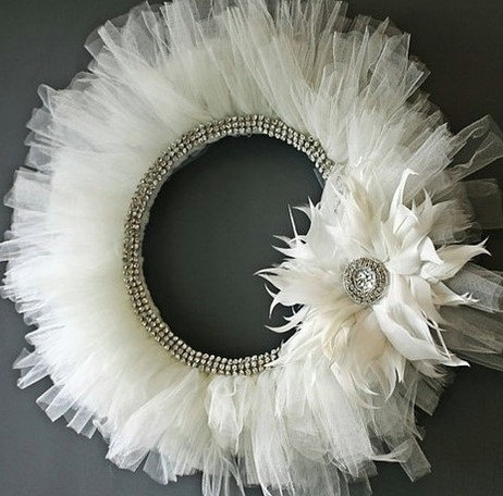 """Rhinestone+White+Tulle+Wreath+by+LBsWreathsandMore+on+Etsy,+$68.00  Oh I want one of these....bet someone could make it for cheaper and give it to me as a wedding gift!!!!  Needs a mirror in the middle with beautiful scrolling writing that says """"Just Married!"""" on it!!!"""