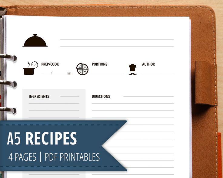 A5 Recipe Filofax Insert , Printable Cook Planner , Recipe cards and  Templates , Recipe Binder