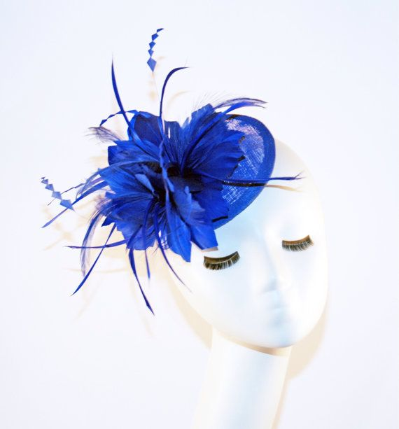 Royal Blue Fascinator - Fascinator Hat with feathers - Tea Party Fascinator  Hat - Wedding Fascinator Hat - British Fascinator  33348078f4a