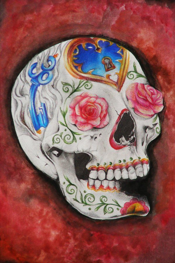 Amazing tattoo-style sugar skull drawing by artist Ashley (SketchbookFlavor) of Montreal using Primatic pencil and watercolor mediums....