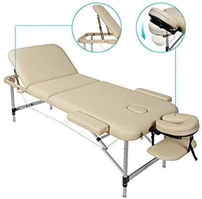 Naipo Lettino Da Massaggio Pieghevole In 3 Sezioni Regolabile In