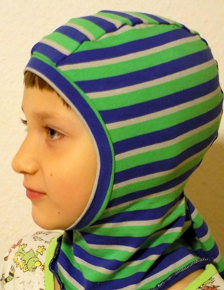 Bavlněná kuklička  - modrozelené proužky; 1,5-3roky