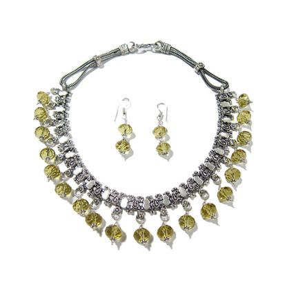 Mogulinterior Vintage Choker Necklace Yellow Green Sapphire Stone German Silver Chain Collar Necklace