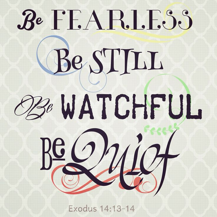 Priscilla Shirer, Exodus 14:13-14  BE FEARLESS BE STILL BE WATCHFUL BE QUIET When the Red Sea is in front of you and Pharaoh's army is surrounding you... Do these 4 things and watch God part that Red Sea and get you through on dry land. All while crushing the enemy beneath the waves!!!