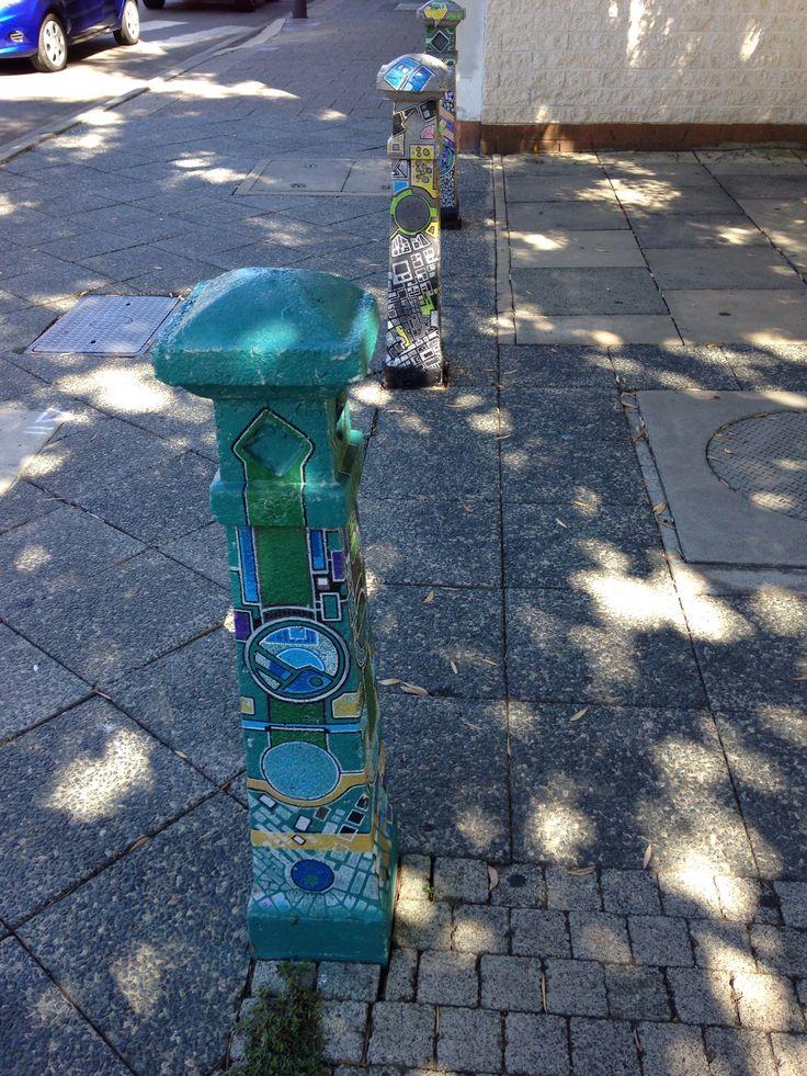 Painted posts in Fremantle, Western Australia