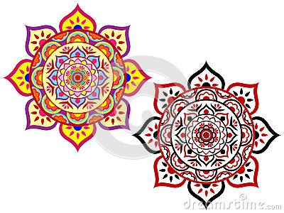 Colorful Lotus Floral Mandala Set of two.