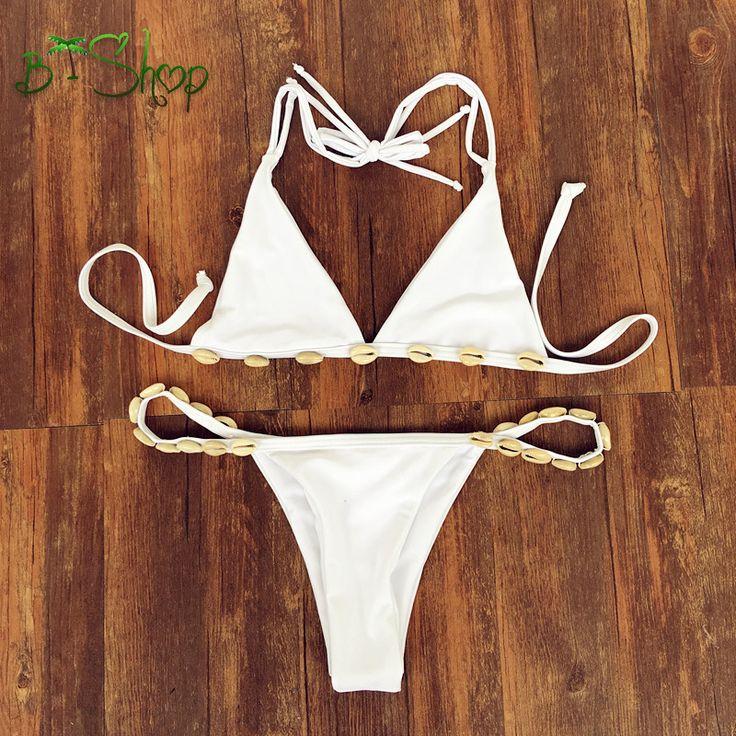 Summer New Fashion Women Shell Bikini Brazilian 4 Color Sexy Low Waist Solid Bikini Retro Swimwear Swimsuit