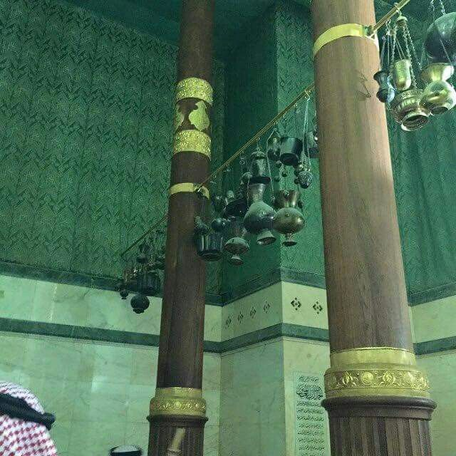 Inside the  kabah - there are three pillars  made out of the finest wood and decorated  with  24krt  gold # Mecca