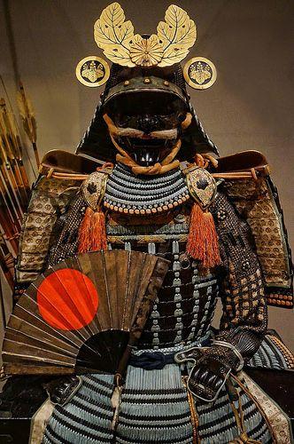 Nuinobedō Tōsei Gusoku Armor with war fan and gold paulownia leaf crest 16th century CE Japan