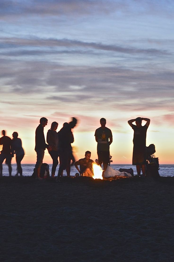 beach, bonfire, community