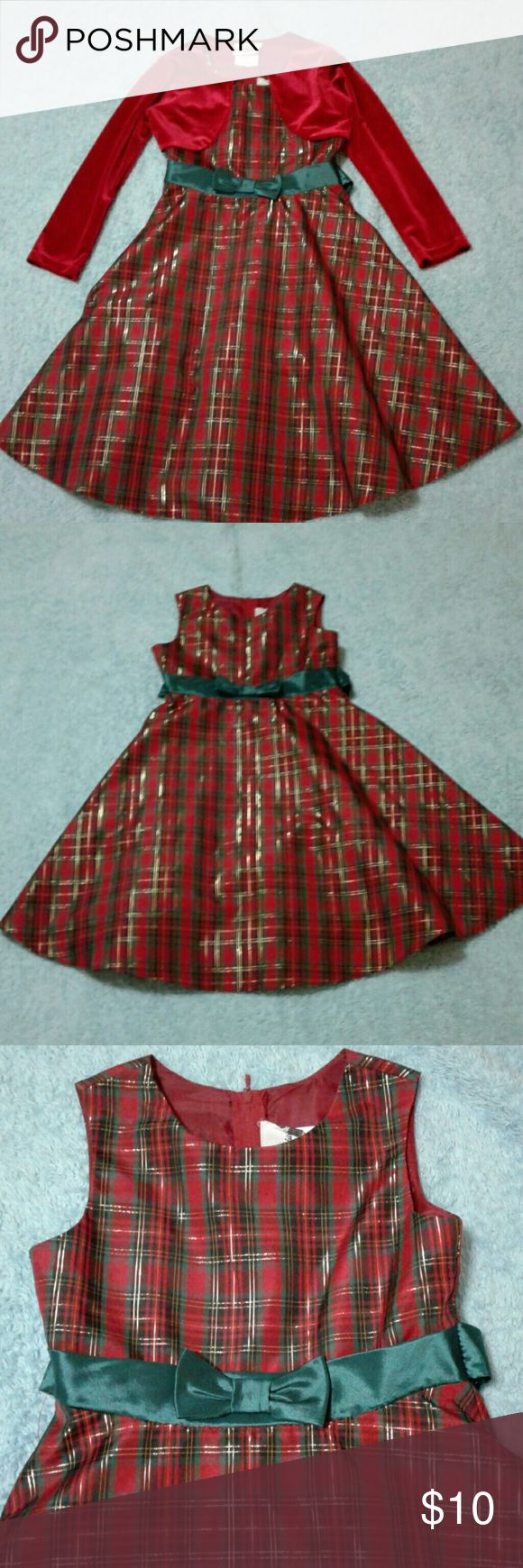 Beautiful Christmas Dress for Girls Rare Edittion Christmas  Dress Girls.Red and Green Plaid Dress with Cardigan .Only used once for Christmas ? Rare Editions Dresses Formal