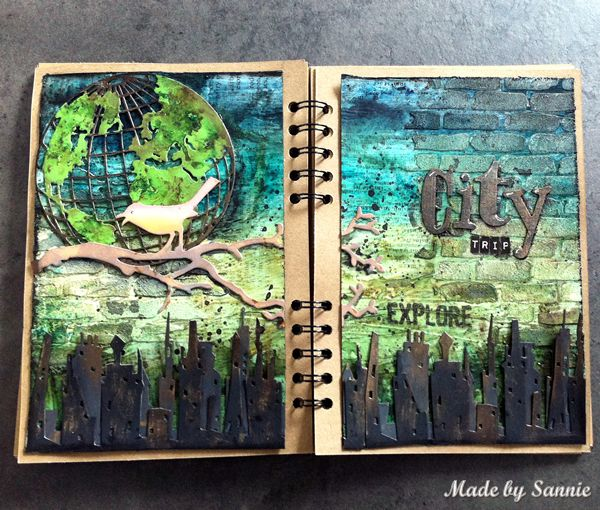 Made by Sannie: Let's Take a Vacation art journal with video tutorial