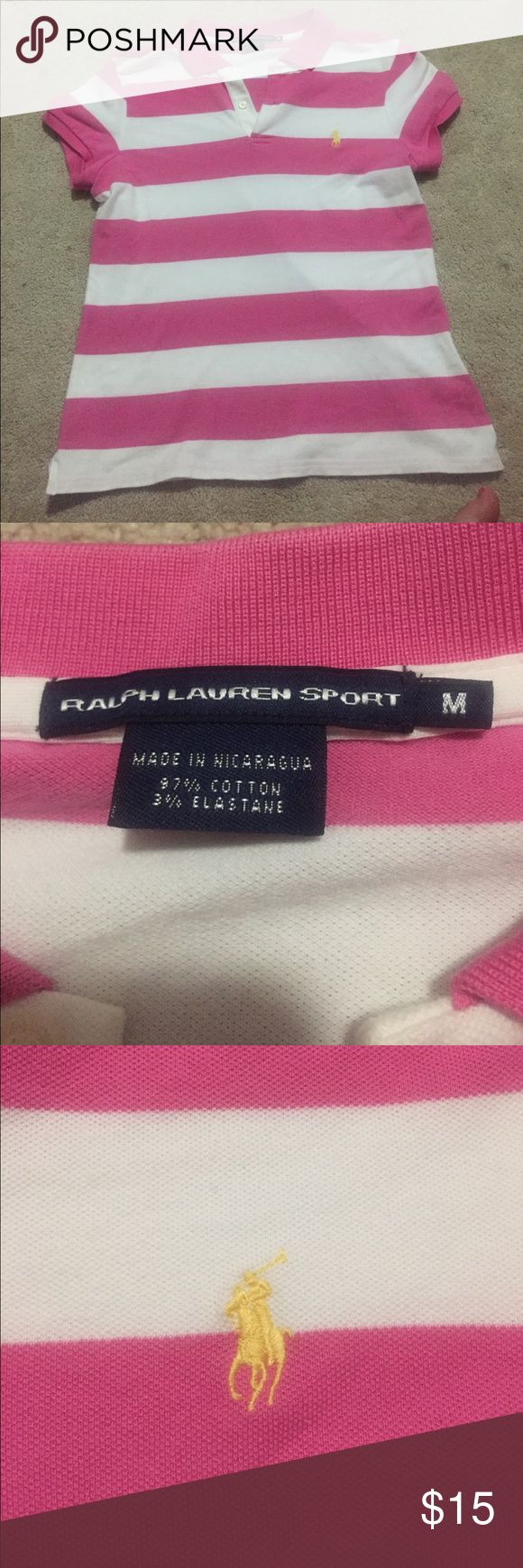 Polo shirt! Never worn polo shirt! Cute pink and white stripes! Polo by Ralph Lauren Tops Button Down Shirts