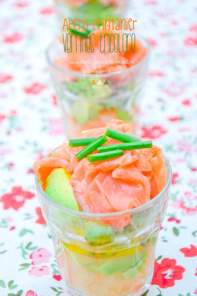 Verrines tricolores: saumon, avocat, pamplemousse