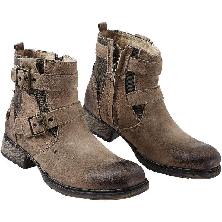 """Stivaletti """"Strapped Boot"""" della collezione #RockRebelbyEMP con cerniera laterale e borchie con logo Rock Rebel. Altezza gambale: 14 cm."""