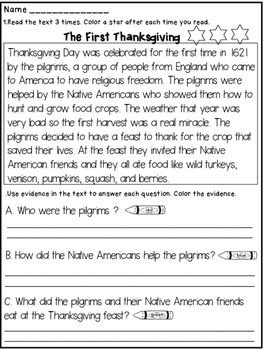 Thanksgiving Close Reading :This Thanksgiving Close Reading Product contains a close reading text about the first Thanksgiving.The students will have to:* read the text 3 times and color a star after each reading*answer comprehension questions and color the evidence in the text with highlighters or crayons ( to prove their answers)Happy teaching!Dana's WonderlandThanksgiving Close Reading / Thanksgiving Close Reading Text / Thanksgiving Close Reading Passage