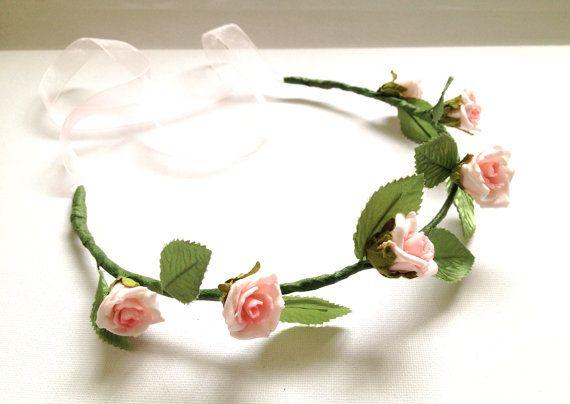 Pink rose flower crown, Woodland bridal crown, Boho wedding garland, Floral hair wreath, Flower head piece - ROSE