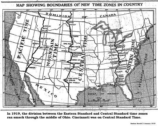 Map Showing Us Time Zones - Timezone cincinnati