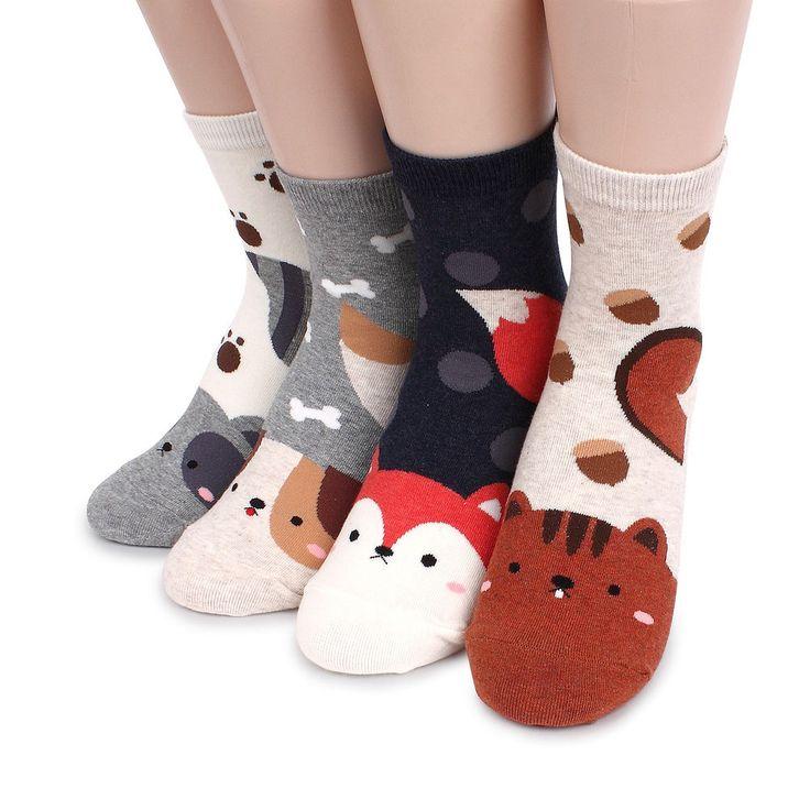 Big Tails Animals Socks (4-PACK) Squirrel Dog Fox Racoon Women Socks JC #ggorangnae #Casual
