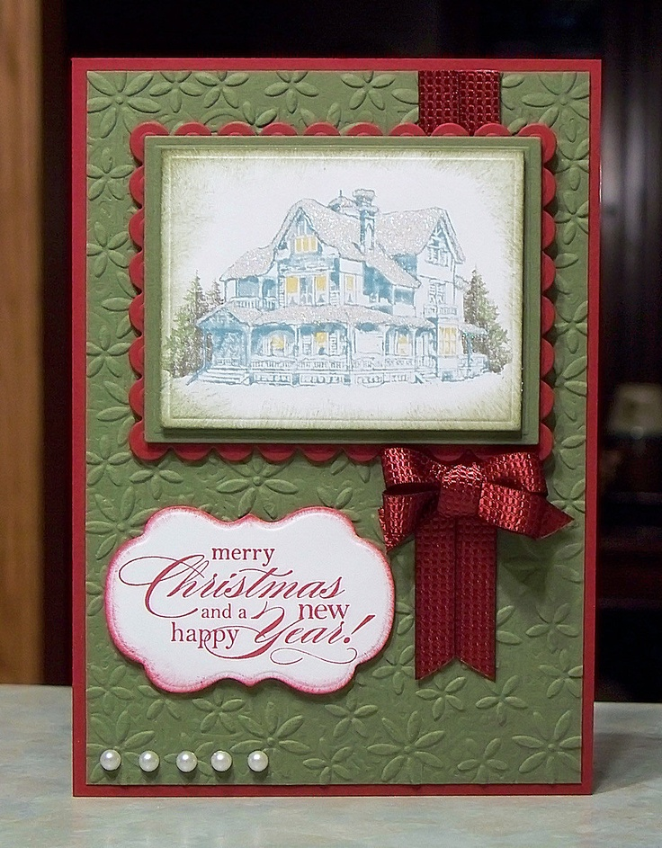 Handmade christmas card stampin up christmas lodge for Handmade christmas cards