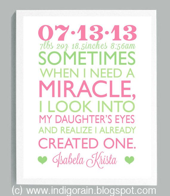 The 25 best birth gifts for mom ideas on pinterest baby gifts personalized new baby girl gift newborn girl miracle baby baby keepsake gift for new mom nursery decor custom baby girl gifts pink green negle Image collections