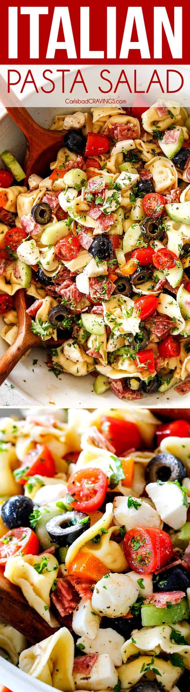 Italian Pasta Salad made 10000X better with cheesy tortellini and the BEST Italian Dressing on your table in 25 minutes! #pastasalad #salad #saladrecipe #recipe #tortellini #tortellinisalad #potluck #potlucksalad #siderecipe