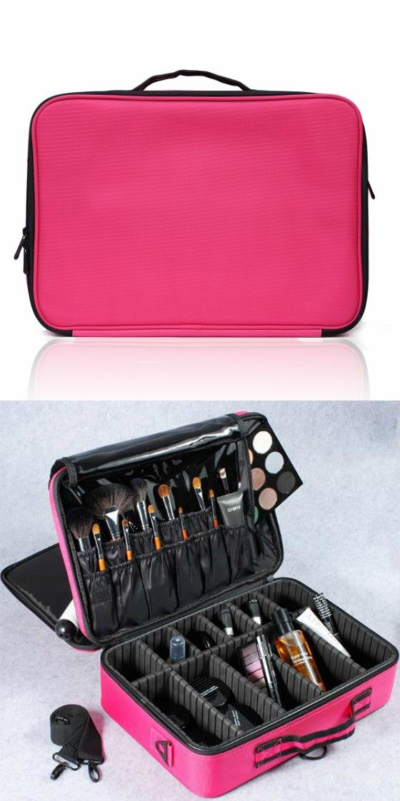 4693da4a2b Portable Large Travel Oxford Soft Makeup Bag with Mirror in Pink  --Joligarce makeup bag with brush compartment   cosmetic bag with brush  holder   pro makeup ...