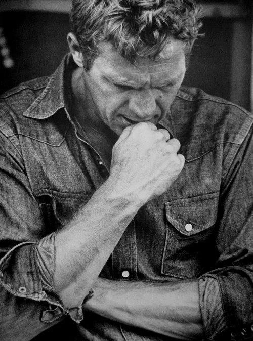 Steve McQueen, Ok I really didn't know his appeal  but I do now.  This picture is really sexy to me.