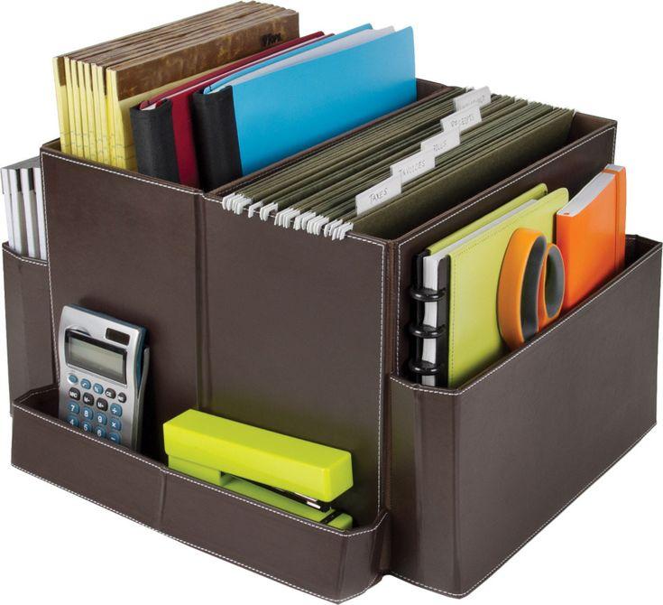 Folding Desk Organizer Brown Vinyl Home Office Storage