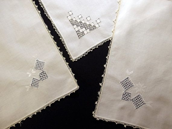 Once upon a time....Antique Set of 3 Doilies Hankie Hanky Silk #Bridal #WeddingDecor  by VintageHomeStories