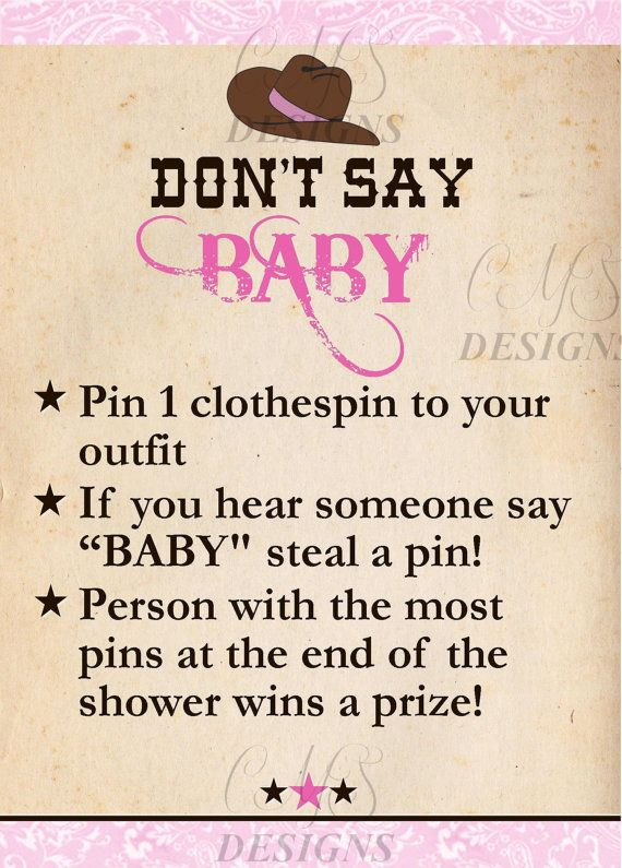 Cowgirl Baby Shower Party Game
