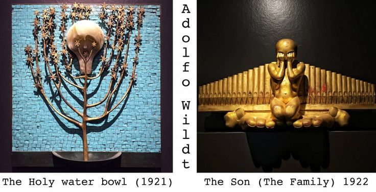 Adolfo Wildt. The holy water bowl. The son (The Family)