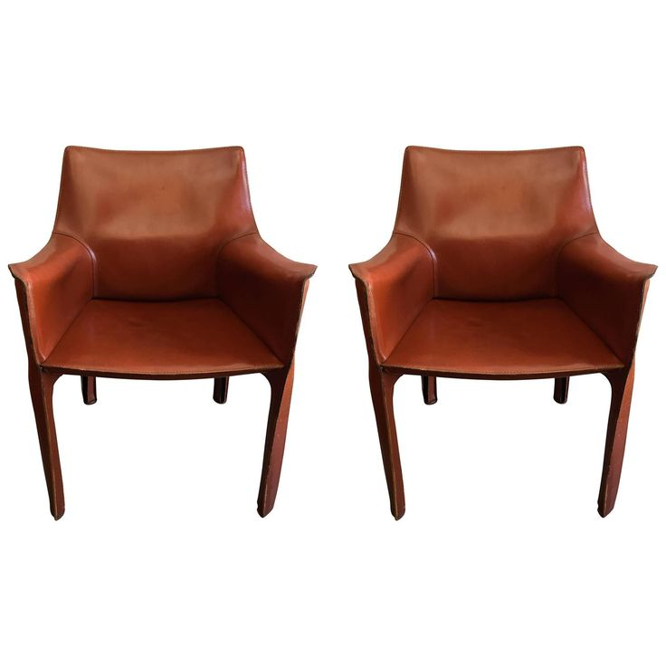 Pair of Mario Bellini Cassina Cab Leather Chairs | See more antique and modern Side Chairs at https://www.1stdibs.com/furniture/seating/side-chairs