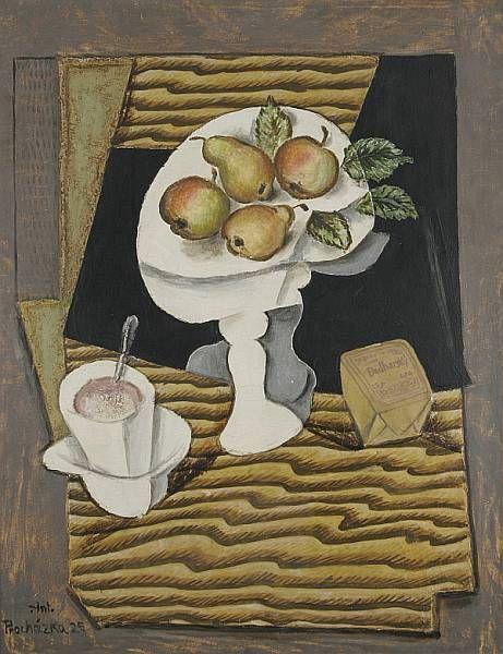 Antonín Procházka, Zátiší s ovocem a bulharským tabákem, 1925, olej na plátně, 74 x 58 cm