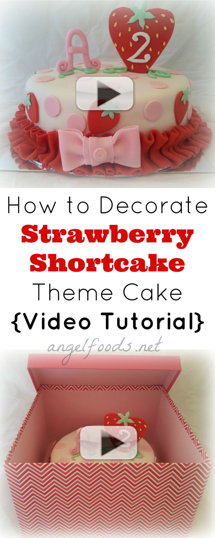 How to Decorate a Strawberry Shortcake Themed Cake | I previously had an order for a 'vintage' or old fashioned strawberry shortcake style/themed cake. | http://angelfoods.net/decorate-strawberry-shortcake-cake